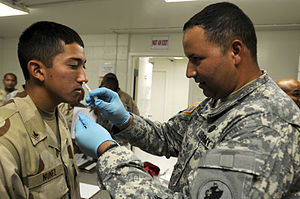 Army Sgt. Felepie Rodriguez, a medic assigned to Joint Task Force Guantanamo&acirc;&#8364;&#8482;s Joint Trooper Clinic, administers an intranasal flu vaccination to Navy Petty Officer 3rd Class Esteban Nunez, September 13, 2010.The JTC is conducting annual influenza vaccinations for JTF Guantanamo service members. (JTF Guantanamo photo by U.S. Navy Mass Communication Specialist 2nd Class Elisha Dawkins) (Photo credit: Wikipedia)