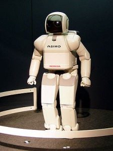 ASIMO is an advanced humanoid robot developed by Honda. Shown here at Expo 2005. (Photo credit: Wikipedia)
